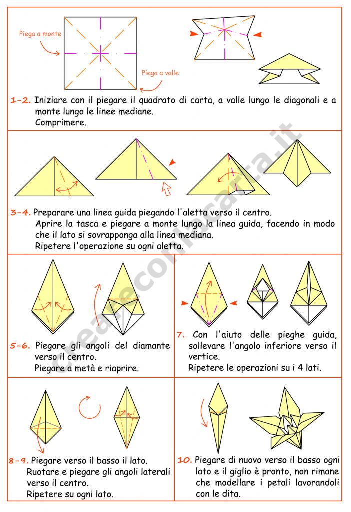 istruzioni origami giglio