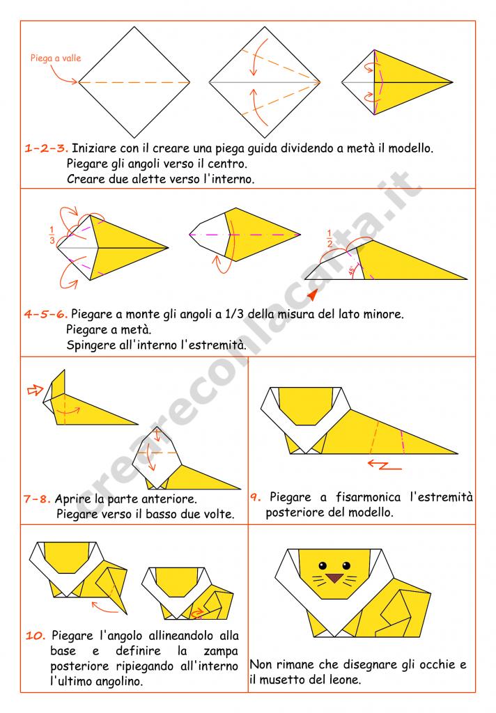 istruzioni leone origami
