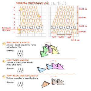 Gufo origami 3d Schema Montaggio Ali