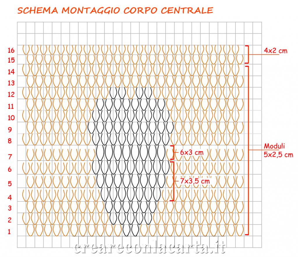 Gufo origami3d Schema Montaggio Corpo Centrale