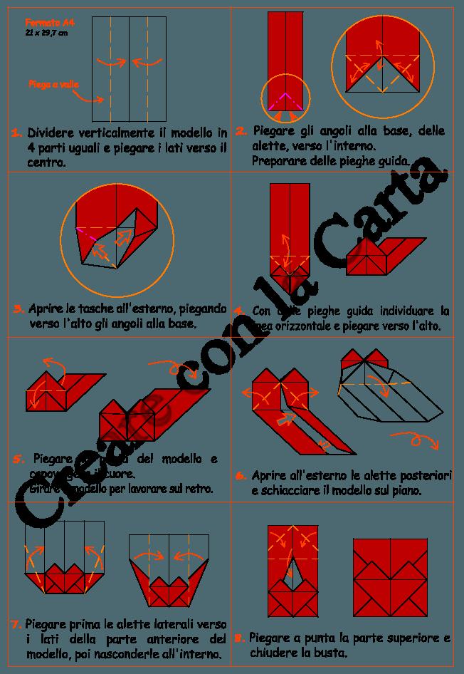 schema busta cuore origami