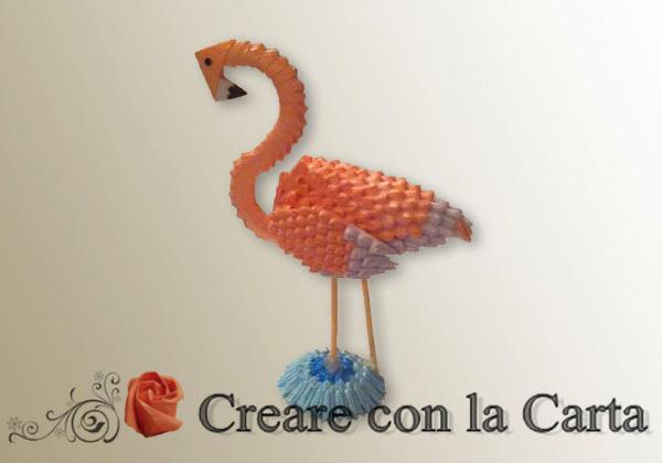 Fenicottero origami 3d