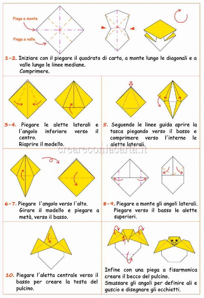 schema pulcino origami